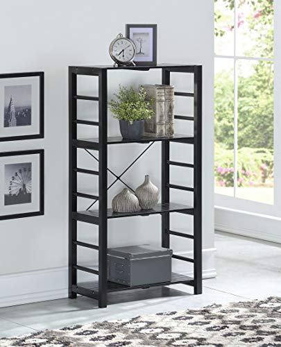 Black Finish Solid Wood - None Black Finish Solid Wood Frame 4-tier Bookshelf Bookcase Display Shelf Kitchen with Slat Shelves