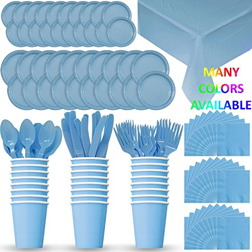 Blue Light Dinnerware - HeroFiber Disposable Paper Dinnerware for 24 - Light Blue - 2 Size Plates, Cups, Napkins , Cutlery (Spoons, Forks, Knives), and tablecovers - Full Party Supply Pack