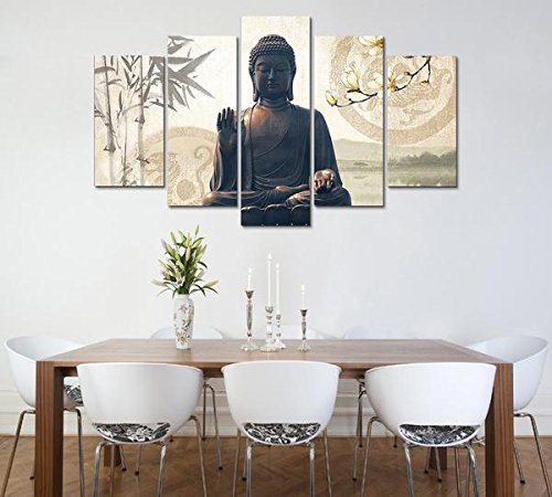 Kidaby LIMITED EDITION BUDDHA BAMBOO 5-PIECE CANVAS PAINTING by Kidaby
