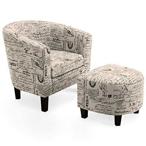 Belleze Accent Tub Chair Curved Back French Print Script Linen Fabric w Ottoman Modern Stylish Round Armrest, Beige