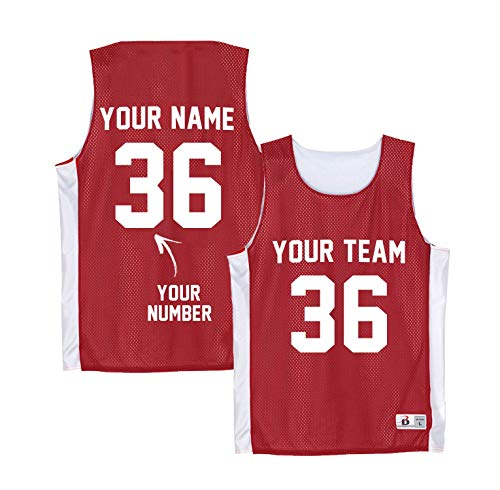 Custom Red Basketball Tank Top - Boys Football Practice Jersey - Lacrosse Pinnies