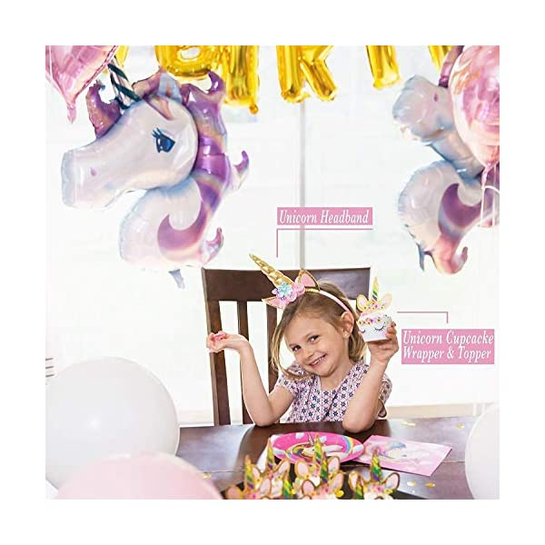 Unicorn Party Supplies- Cake Topper + Cupcake Wrappers | Headband | Party Plates Set for Kids | 32 Balloons | Tattoos… 4