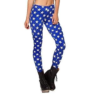 QZUnique Women's High Waist Blue Star Print Shaping Breathable Tights Leggings,Blue Star,One Size