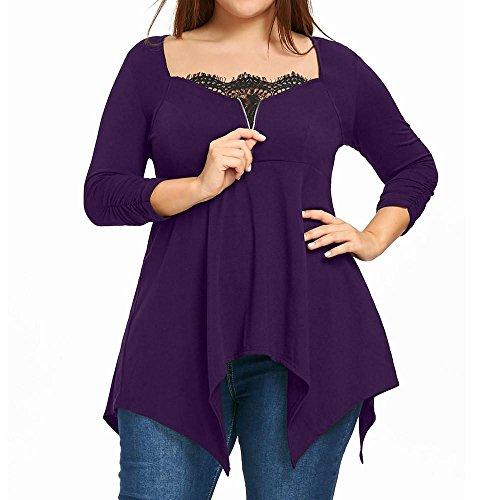 Shortalls Shirt (Tootu Plus Size Fashion Autumn Lady Lace Womens Long Sleeve T-Shirt Casual Top Blouse (5XL, H))