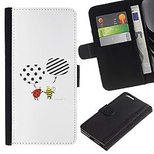 KingStore / Leather Etui en cuir / Apple Iphone 6 PLUS 5.5 / Abeja linda de la historieta mariquita Blanca
