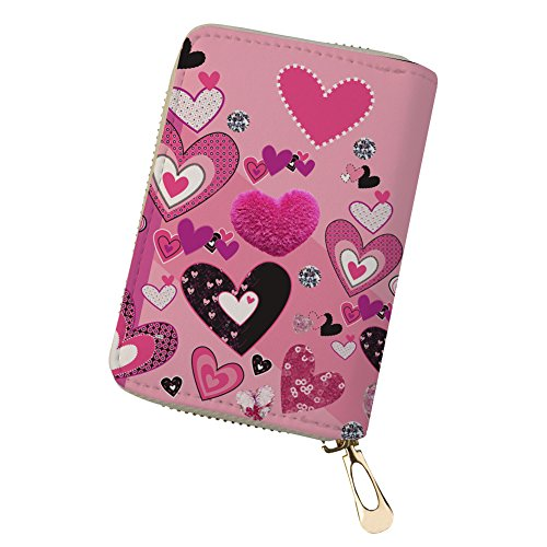 Herz Rosa Kreditkartenhüllen Geldbörse für Damen Designer Leder mit Reißverschluss Rosa Herz 1 lqxmj7Z