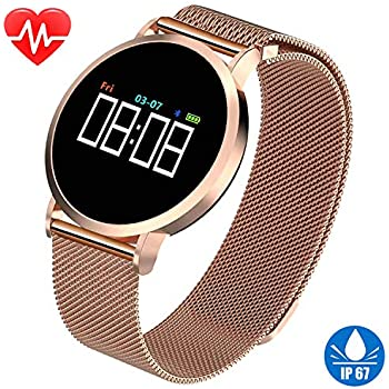 Womens Smart Watch for Android Phones Fitness Tracker HR IP67 Waterproof Bracelet with Heart Rate Blood Pressure Sleep Monitor Pedometer Calories Activity ...