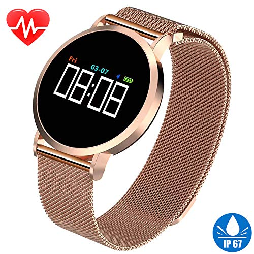 Womens Smart Watch for iPhone Android Fitness Tracker HR IP67 Waterproof Bracelet with Heart Rate Blood Pressure Sleep Monitor Pedometer Calorie Tracker Sport Swim Wristband Best Christmas Gifts