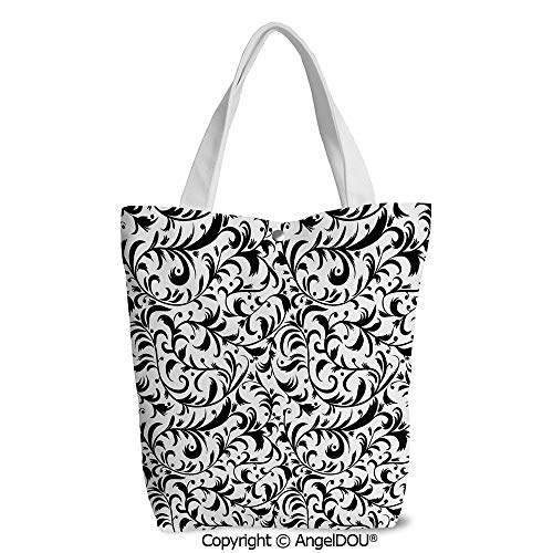 (Fashion Printed Shoulder Canvas Shopping Bag Monochrome Leaves Branches with Swi)