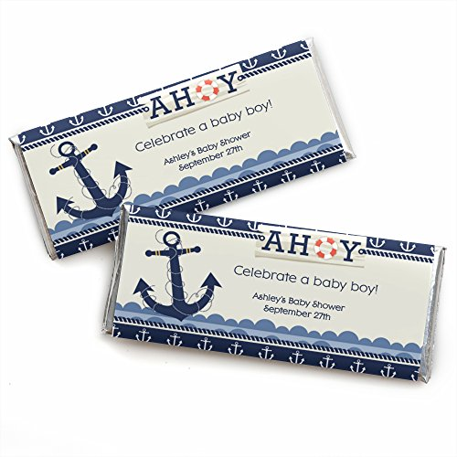 Custom Birthday Candy Bar Wrappers (Custom Ahoy - Nautical - Personalized Baby Shower or Birthday Party Favors Candy Bar Wrappers - Set of)