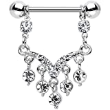 Body Candy Stainless Steel Clear Ornate V Dangle Nipple Ring Set of 2