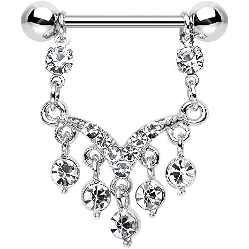 Body Candy Stainless Steel Clear Ornate V Dangle Nipple Ring Set of (Body Dangle Nipple Ring)