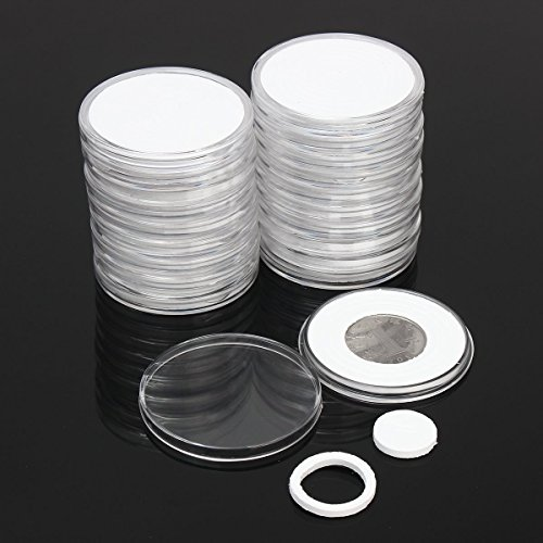 Plastic Coin Cases (Xiaolanwelc@ 20 Pcs/Set Coin Storage Container Box 51mm Dia. Round Display Capsules Holder Ring Applied Clear Plastic Cases Collection Gifts (One))