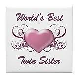 CafePress - World's Best Twin Sister (Heart) - Tile Coaster, Drink Coaster, Small Trivet