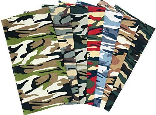 7 PCS 48x48cm Cotton Craft Camouflage Fabric Bundle Squares Quilting Sewing Patchwork Cloths DIY Scrapbooking Artcraft (Camo Series 18.9x18.9)