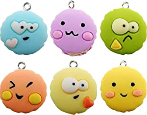 Wayees Kawaii Donuts Macarons Charms for DIY Jewelry Making Art and Crafts Doughnut Beads Food Miniature Keychain Necklace Pendant Earrings Concert Bracelets Decoration Birthday Party (Pack of 12)