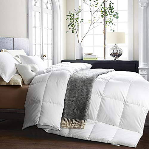 Awenia Goose Down Comforter Queen Size All Seasons Hypo-allergenic Breathable Duvet Insert, 750+ Fill Power, 50 oz Fill Weight, 100% White Goose Down Comforter with Tabs, White