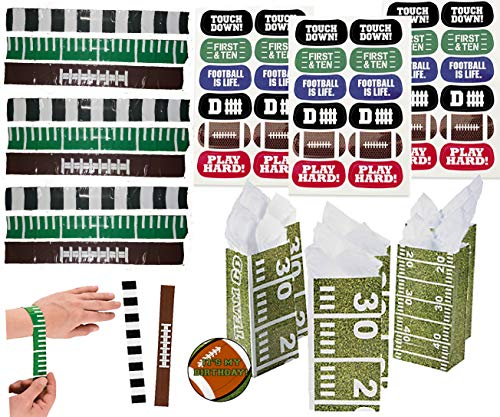Football Party Favors for 24 -Footballs Slap Bands (24), Football Face Tattoos (24 Sheets), Football Theme Treat Bags and a Football Birthday Sticker (135 -