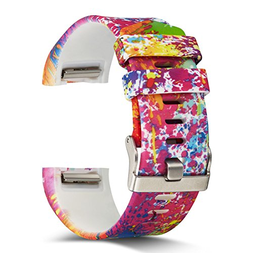 AIWELL Fitbit Charge 2 Bands,Silicone Adjustable Replacement Sport Strap Printed Bands Classic Buckle Fitbit Charge2 HR,Fitbit Charge 2 Accessories Wristbands (Pattern-13, Large)