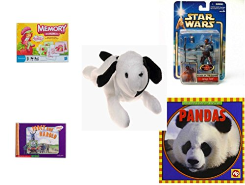 Children's Gift Bundle - Ages 3-5 [5 Piece] - Strawberry Shortcake Edition Memory Game - Star Wars Jango Fett Action Figure Toy - Ty Beanie Baby - Spot the Dog - Shortcake Basic Figure Strawberry
