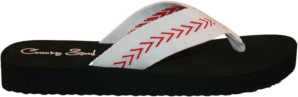 Cocomo Soul Baseball Fabric Canvas Flip Flops Baseball Mom Flip Flops Baseball Sandals Baseball Flip Flops for Women Rhinestone Accents