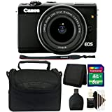 Canon EOS M100 Mirrorless Digital Camera with 15-45mm Lens (Black) + 8GB Memory Card + Wallet + Reader + Case + 3pc Cleaning Kit