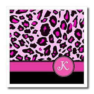 ht_154412_2 InspirationzStore Monograms - Personalized initial K monogrammed hot pink and black leopard pattern animal print - personal letter - Iron on Heat Transfers - 6x6 Iron on Heat Transfer for White Material