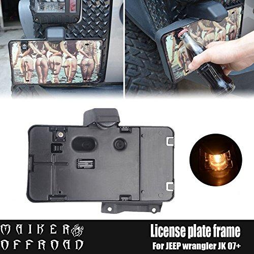MAIKER Jeep Wrangler License Plate Holder Jeep JK Rear License Plate Frame with JK License Plate Bottle Opener and LED Light, - Light License Plate Holder
