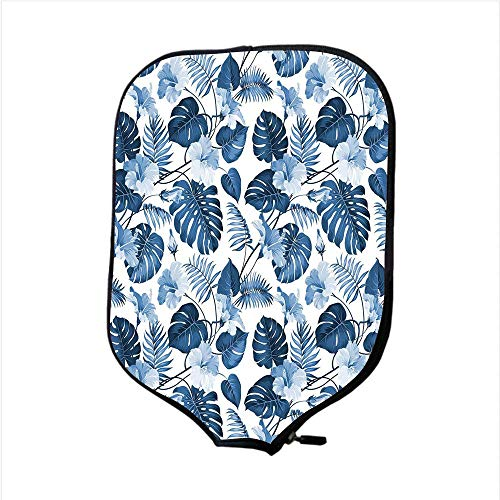 YCHY High Grade Neoprene Pickleball Paddle Racket Cover Case,Leaf,Palm and Mango Tree Branch and Hawaiian Hibiscus Flower Image,Light Blue Turquoise and Dark Blue,Fit for Most Rackets