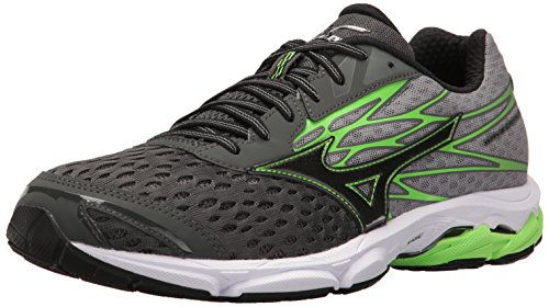 Mizuno Men's Wave Catalyst 2 Running Shoe, Charcoal/Green Flash, 8.5 D (Green Wave)