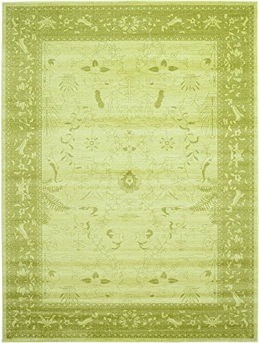 Unique Loom La Jolla Collection Tone-on-Tone Traditional Light Green Area Rug (9