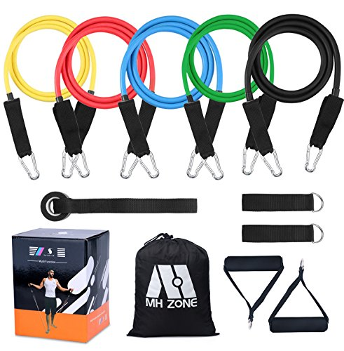 MH Zone Resistance Band Set 11 pc Resistance Band Set with 5 Exercise Bands, Door Anchor and Legs Ankle Straps, Fit for Resistance Training, Home Gyms Workouts, Fitness Yoga (11 Piece)