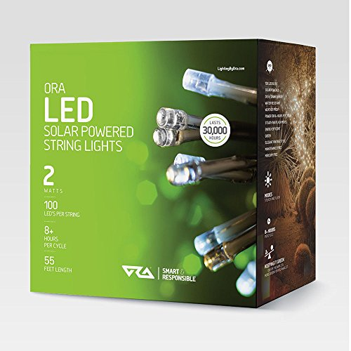 Ora LED Solar Powered String Lights with Automatic Sensor, Black, (55 FT, 100 LED)