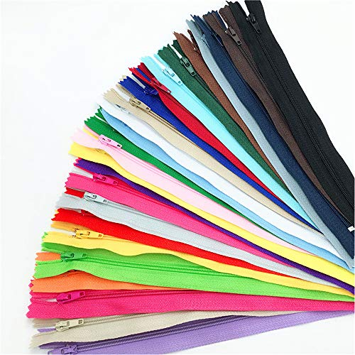 100 Pcs 9 Inch Nylon Coil Zippers Bulk for Tailor Sewing Crafts 20 Colors