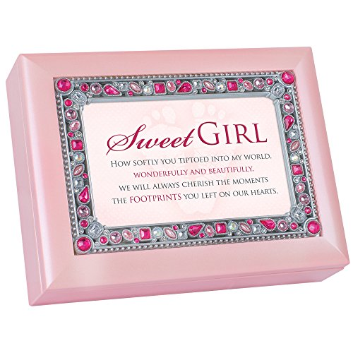Sweet Girl Footprints on Hearts Jeweled Pink Jewelry Music Box Plays song You Light Up My (Valentine Boxes For Girls)