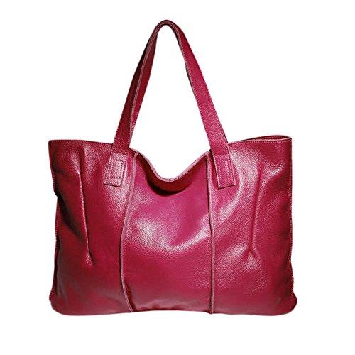 Bandolera Hb0023 Sakutane Buen Diseño O Mano Suave Resistente Bolso Burdeos Mujer Rosé Regalo rojo Piel bolso De Super winered qCxawzq