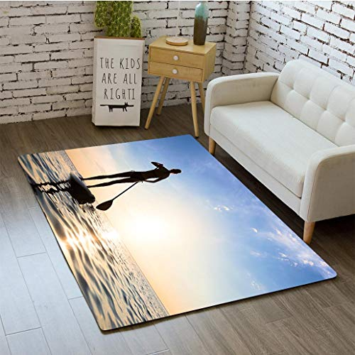 MTSJTliangwan 3D Printing Girl Stand up Paddle Boarding (sup) on Quiet sea Sunset Bathroom Carpet Flannel Foam Shower mat Absorbent Living Room Kitchen Door Carpet Floor - Paddle Yj