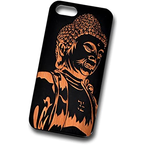 Buddha Engraved Black Bamboo Cover for iPhone and Samsung phones Natural Wood - Samsung Galaxy s7 Sales