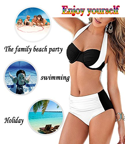 Vilania Bikini Mujer Bañadores Cintura Alta Vintage Push Up Swimsuit Dos Piezas Trajes de baño con Top y bottom Negro blanco