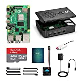 LABISTS Raspberry Pi 4 Complete Starter Kit with 4GB RAM Board, 32GB Micro SD Card Raspbian, 3A Power Supply with On/Off Switch, Upgraded Premium Black Case and Cooling Fan, 3 Heat Sinks