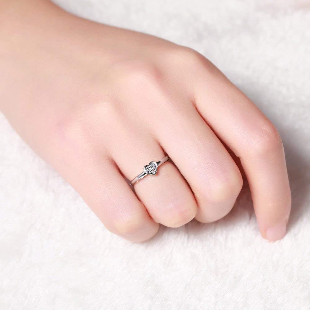 Amazon.com: Brilliant Heart Diamond Engagement Ring 14k White Gold ...
