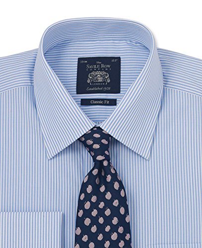 French Stripe Bengal Shirt Blue - Savile Row Men's Blue Bengal Stripe Classic Fit Shirt - French Cuff 15 1/2