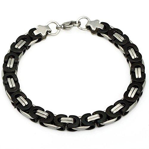 Trendsmax 8mm Stainless Steel Chain Link Bracelets for Men Flat Byzantine Bracelet Black Silver 7inch