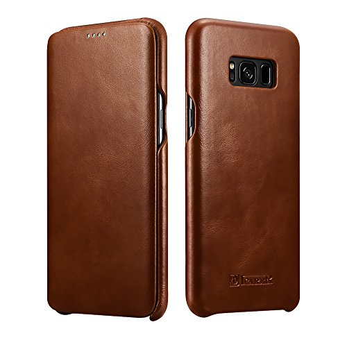 Icarercase Samsung Galaxy S8 Leather Case With Flip Opening Cover in Curved Edge Design and Side Hidden Magnetic Snap (Brown)