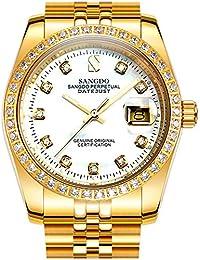 Men's Diamond Inlay Bezel Face Stainless Steel Band Calendar Waterproof Automatic Mechanical Gold Watch (Golden...