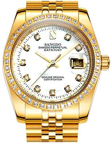 Men's Diamond Inlay Bezel Face Stainless Steel Band Calendar Waterproof Automatic Mechanical Gold Watch (Golden White)
