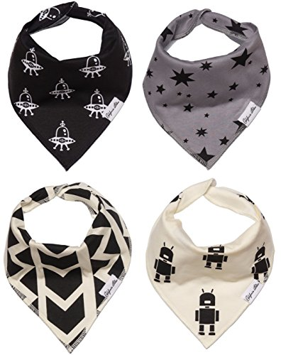 Baby Bandana Drool Bibs Gift Set For Boys, 4 Pack Organic Cotton With Snaps