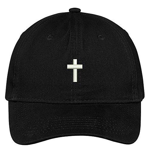 Black Cap Cross - Trendy Apparel Shop Cross Embroidered Low Profile Soft Cotton Brushed Baseball Cap - Black