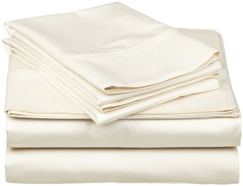 aashirainwear 4 PCs Bed Sheet Set 100% Cotton 400-Thread-Count King Size Ivory Solid (15 Inch Drop)