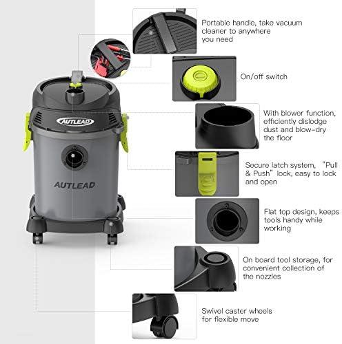 AUTLEAD Shop Vac 5.5 Gallon 5.5 Peak HP wet dry vacuum with Attachments, WDS02A